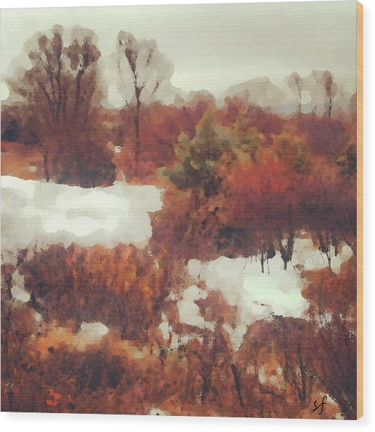 Wood Print featuring the digital art Came An Early Snow by Shelli Fitzpatrick