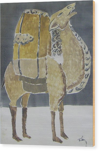 Camel Facing Right Wood Print