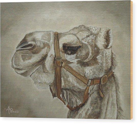 Camel Portrait Wood Print