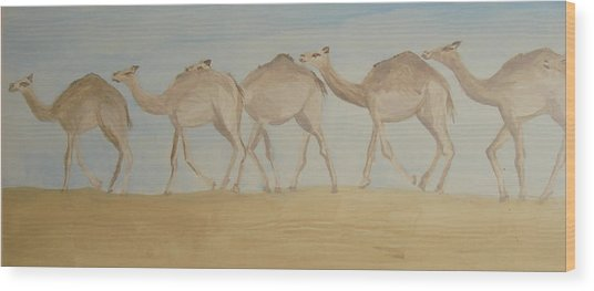 Camel Train Wood Print by Wendy Peat
