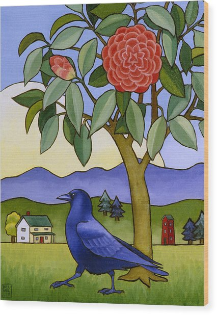 Camellia And Crow Wood Print