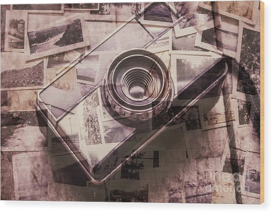 Camera Of A Vintage Double Exposure Wood Print