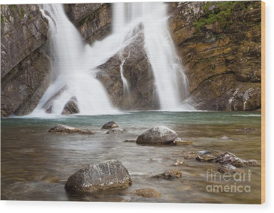 Cameron Falls In Waterton Lakes National Park Wood Print