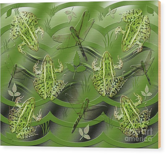 Camo Frog Dragonfly Wood Print