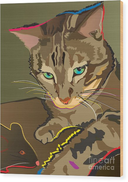 Camouflage Bengal Cat Wood Print