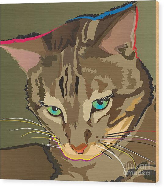Camouflage Bengal Cat Square Wood Print
