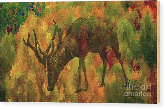 Camouflage Deer Wood Print