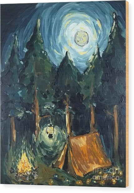 Camp At Night Wood Print