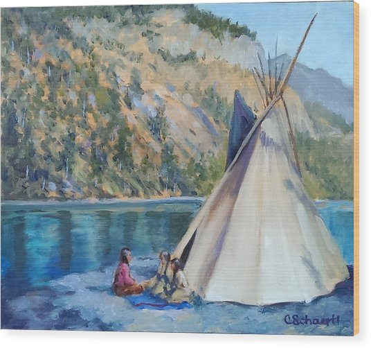 Camp By The Lake Wood Print