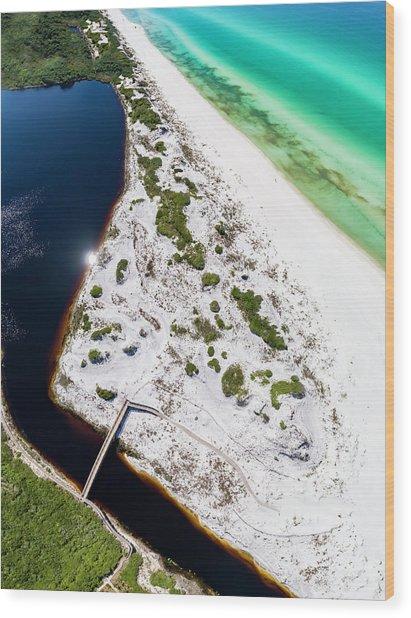 Camp Creek Lake On The Gulf Aerial Wood Print