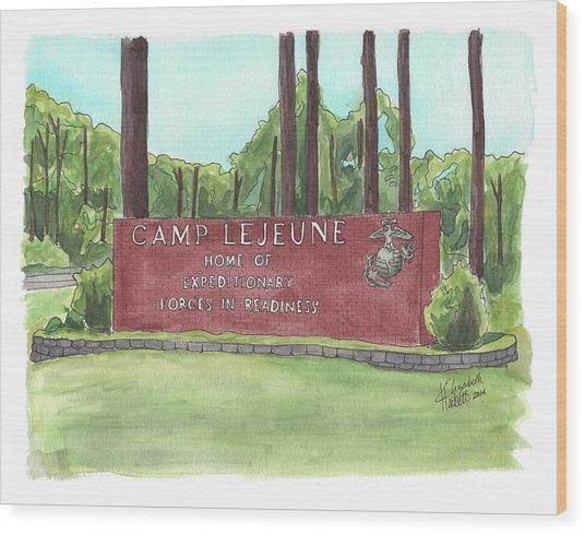 Camp Lejeune Welcome Wood Print