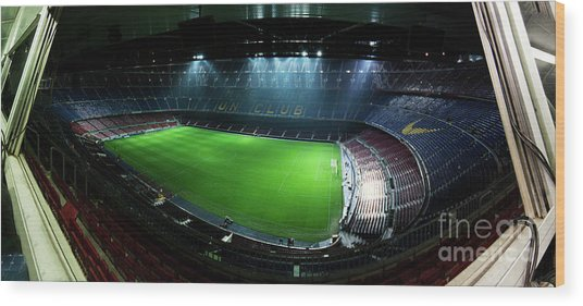 Camp Nou At Night Wood Print