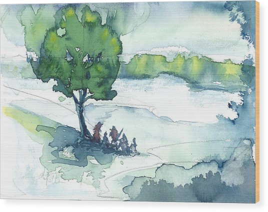 Camp On The Lake Wood Print by Don  Vella