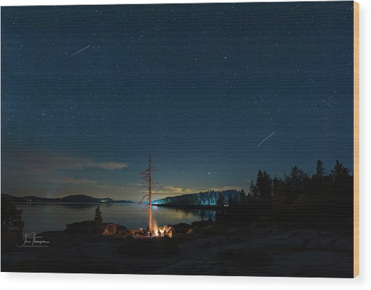 Wood Print featuring the photograph Campfire 1 by Jim Thompson