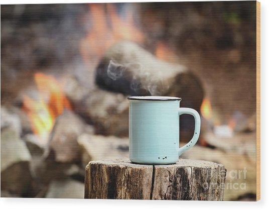 Campfire Coffee Wood Print