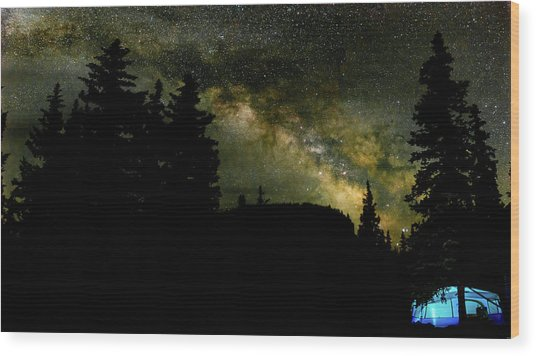 Camping Under The Milky Way 2 Wood Print