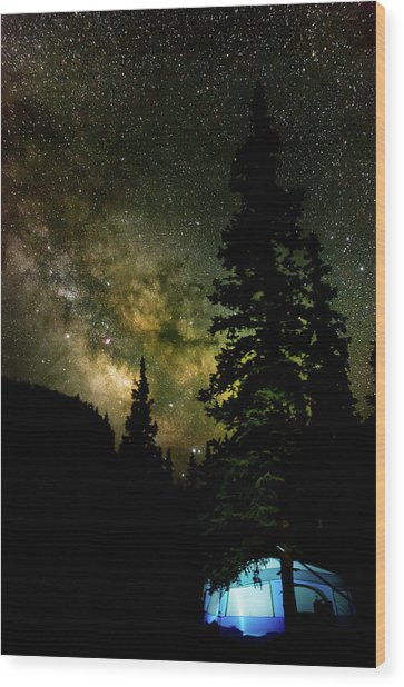 Camping Under The Milky Way Wood Print