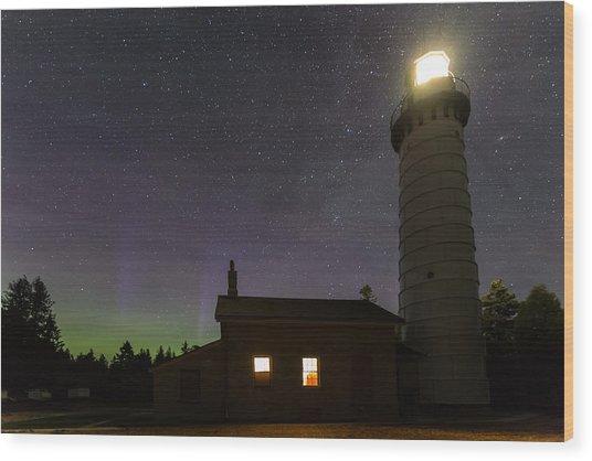 Cana Island Northern Lights Wood Print