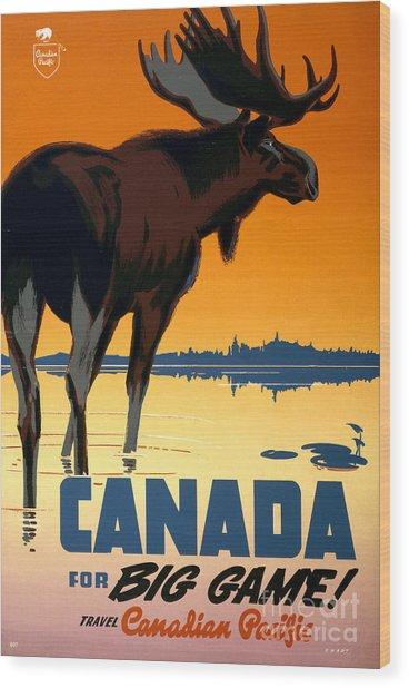 Canada Big Game Vintage Travel Poster Restored Wood Print