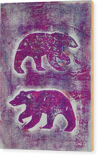 Canadian Bears Pink  Wood Print