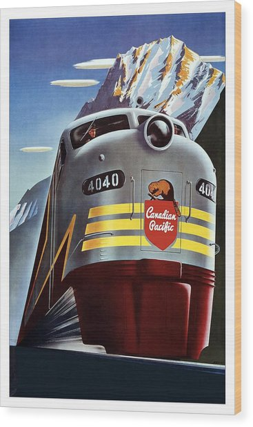 Canadian Pacific - Railroad Engine, Mountains - Retro Travel Poster - Vintage Poster Wood Print