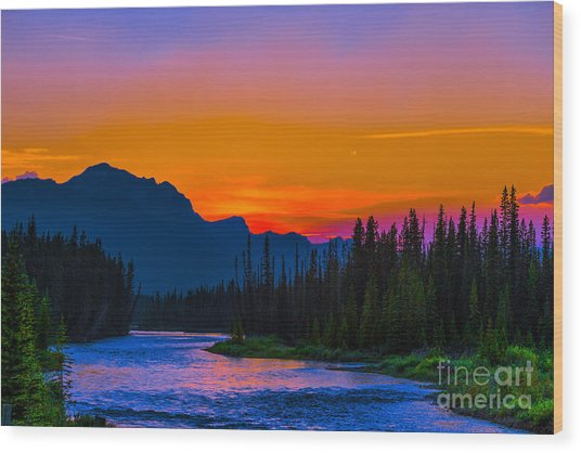 Canadian Rocky Sunset Wood Print