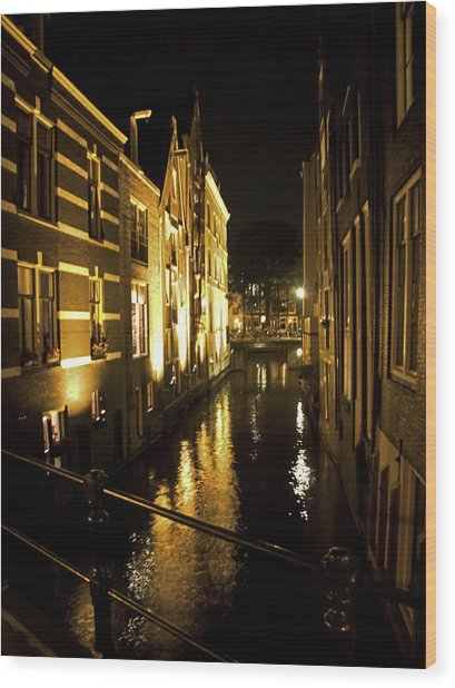 Canal At Night Wood Print