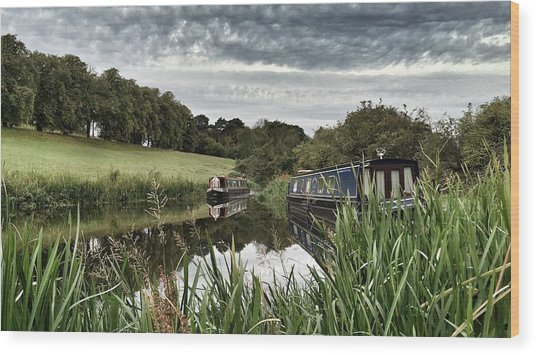 Canal Boats Wood Print