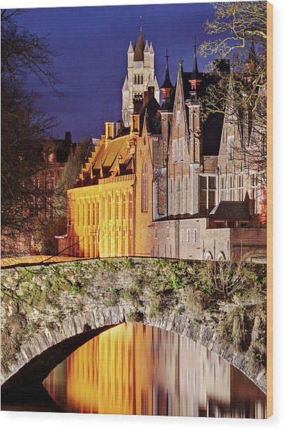 Wood Print featuring the photograph Canal Bridge At Night - Bruges by Barry O Carroll