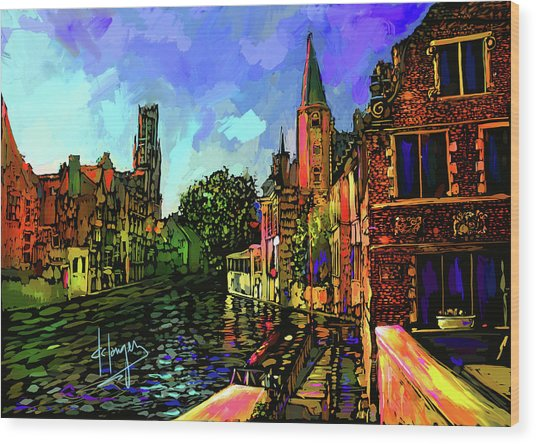 Canal In Bruges Wood Print