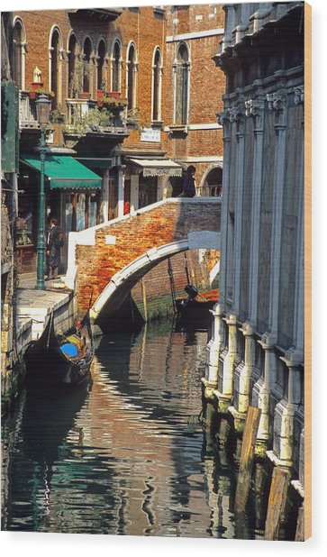 Canal Next To Church Of The Miracoli In Venice Wood Print by Michael Henderson