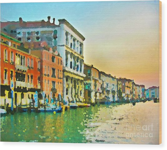 Canal Sunset - Venice Wood Print