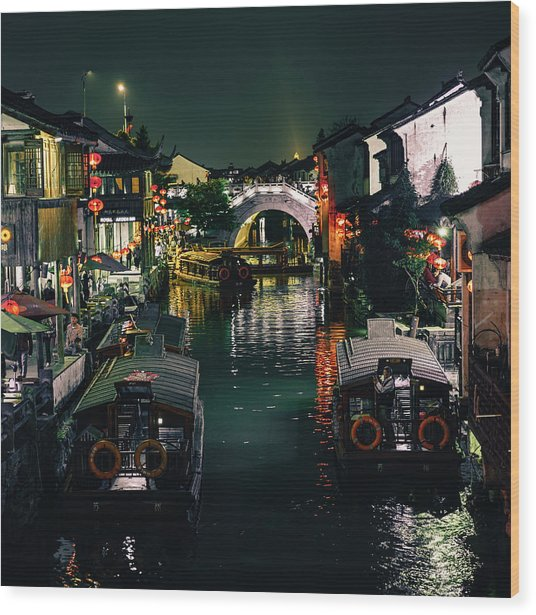 Canals Of Suzhou Wood Print