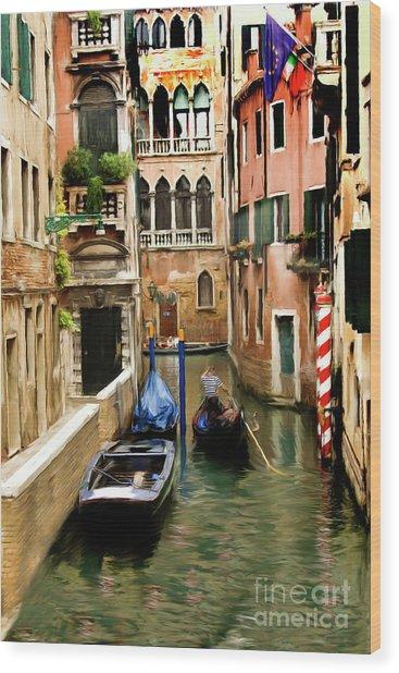 Canals Of Venice Wood Print by Susan  Lipschutz