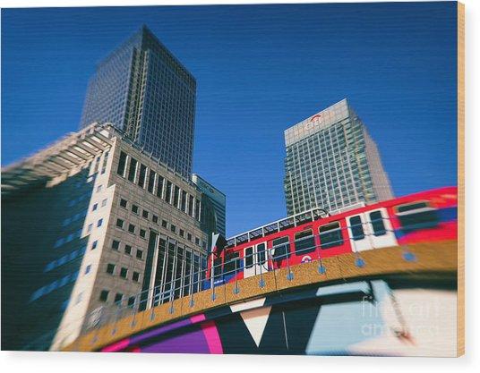 Canary Wharf Commute Wood Print