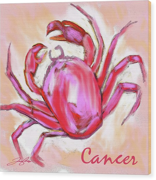 Cancer The Crab Wood Print