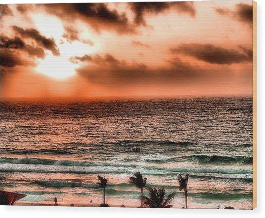 Cancun Sunrise 3 Wood Print
