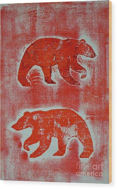 Candadian Bears Two  Wood Print