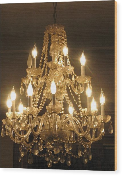 Candelabra Chandelier Wood Print by Hasani Blue