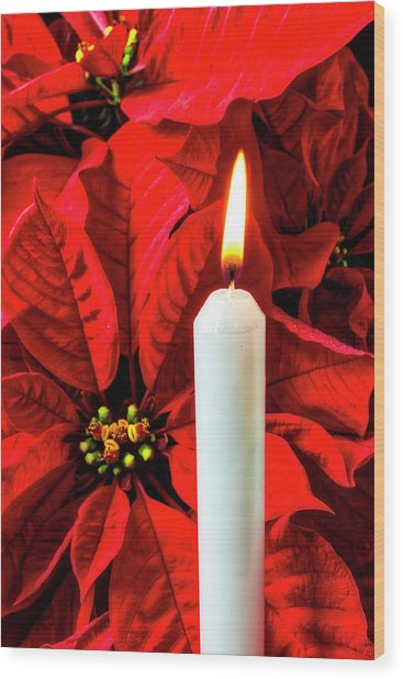 Candle And Poinsettia Wood Print