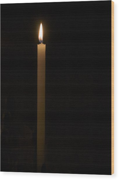 Candle Light Wood Print by Marion McCristall