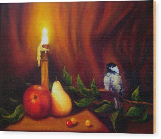 Candle Light Melody Wood Print by Valerie Aune