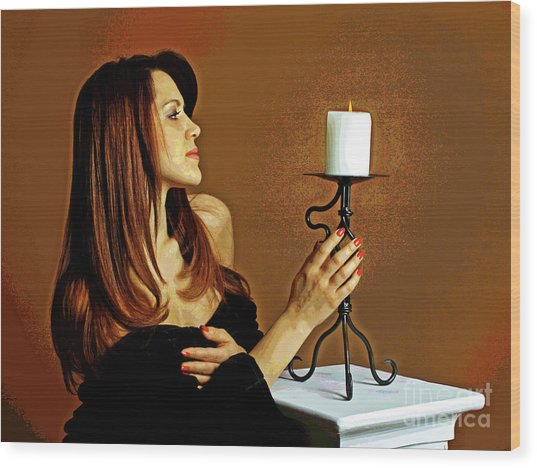 Candle Lights  Wood Print