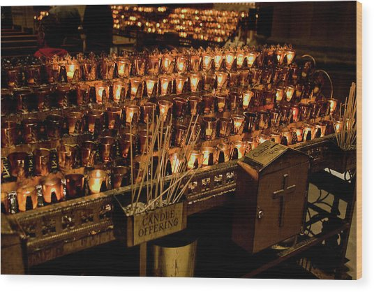 Candle Offerings St. Patrick Cathedral Wood Print