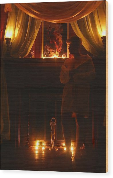 Candlelight Glow Wood Print by Scarlett Royal