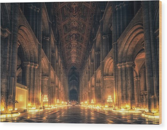 Wood Print featuring the photograph Candlemas - Nave by James Billings