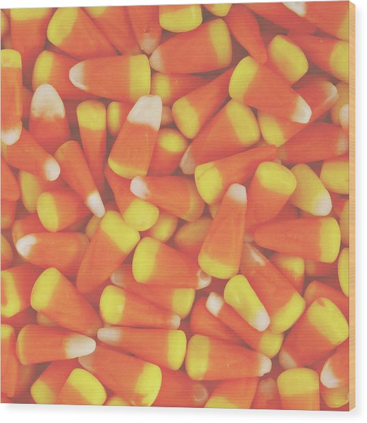 Candy Corn Square- By Linda Woods Wood Print