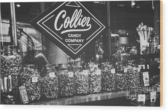 Candy Store- Ponce City Market - Black And White Wood Print