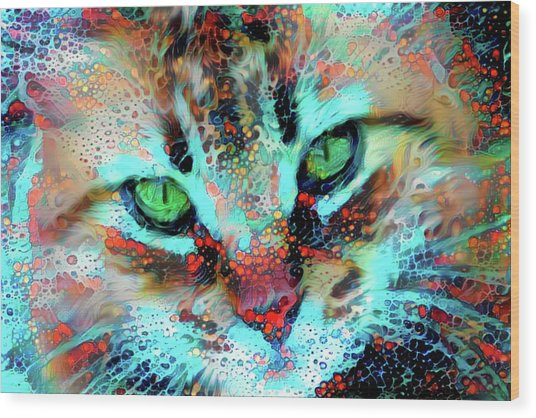 Candy The Colorful Green Eyed Cat Wood Print
