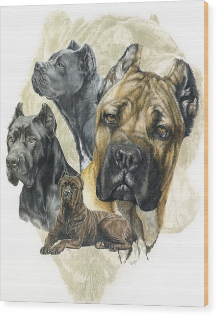Wood Print featuring the mixed media Cane Corso Medley by Barbara Keith
